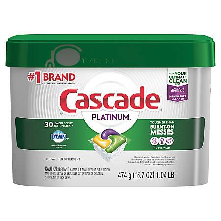 Cascade Platinum Action Pacs, 16.7 Oz, Lemon Scent, Container Of 30 Pacs
