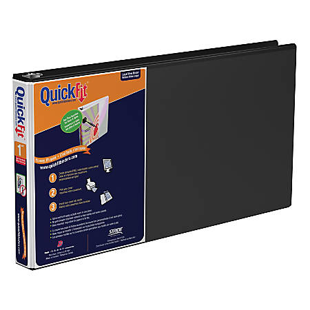 """Stride® QuickFit® D-Ring Overlay Binders, Legal Landscape, 1"""" Rings, 8 1/2"""" x 14"""" Sheet Size, 66% Recycled, Black"""
