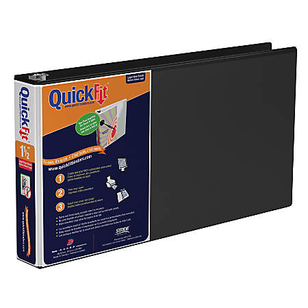 "Stride® QuickFit® Landscape Round-Ring Overlay Binder, 1 1/2"" Rings, 8 1/2"" x 14"" Sheet Size, 50% Recycled, Black"
