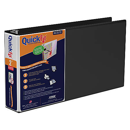 "Stride® QuickFit® Legal Landscape Round-Ring Overlay Binder, 2"" Rings, 50% Recycled, Black"