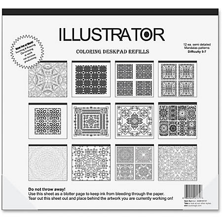 "Aurora Illustrator Coloring Deskpad Refills - 18"" x 16 1/2"" - Black/White Paper - Recycled - 1Each"