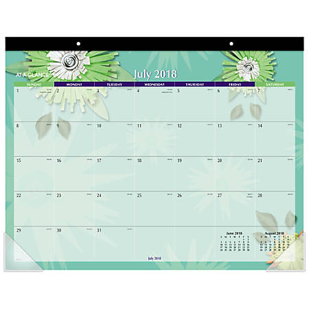"AT-A-GLANCE® Paper Flowers 13-Month Academic Desk Pad, 22"" x 16 13/16"", July 2018 To July 2019"
