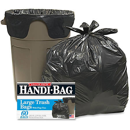 "Webster Handi-Bag Wastebasket Bags - Medium Size - 30 gal - 30"" Width x 33"" Length x 36"" Depth - 0.70 mil (18 Micron) Thickness - Black - Hexene Resin - 60/Box - Home, Office"