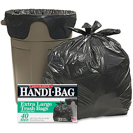 "Webster Handi-Bag Wastebasket Bags - Medium Size - 33 gal - 32.50"" Width x 40"" Length x 40"" Depth - 0.70 mil (18 Micron) Thickness - Black - Hexene Resin - 40/Box - Home, Office"