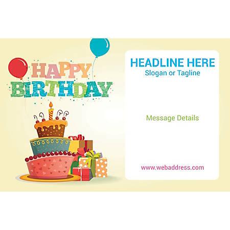 Adhesive Sign, Birthday Cake and Gifts, Horizontal