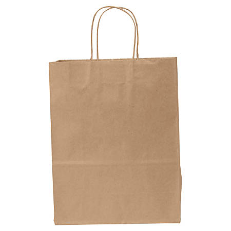"General Heavy-Duty Paper Shopping Bags, 13""H x 10""W x 5""D, Kraft, Carton Of 250 Bags"