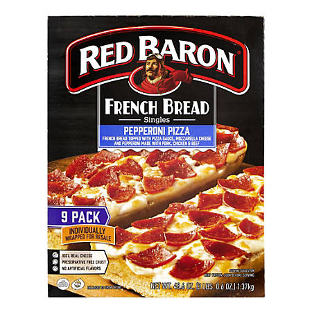 Red Baron French Bread Pepperoni Pizza Singles, Box Of 9 Pizzas