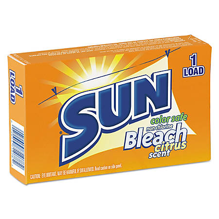 SUN® Color-Safe Powder Bleach Vending Packs, Unscented, 1.8 Oz, 1-Load Boxes, Carton Of 100 Boxes