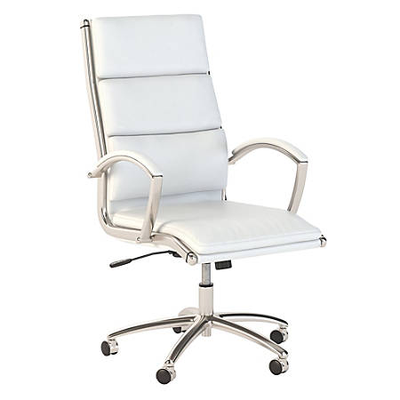 Bush Business Furniture Modelo High Back Leather Office Chair, White, Premium Installation