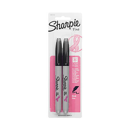 Sharpie® Permanent Fine-Point Markers, Black/Pink Ribbon, Pack Of 2 Markers