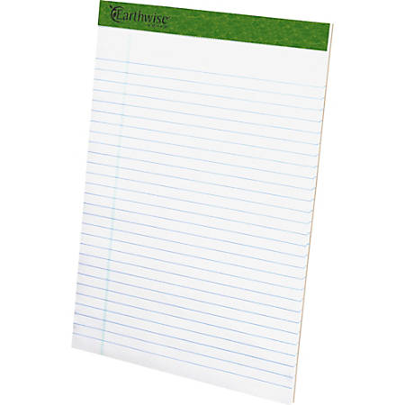 """TOPS Recycled Perforated Legal Writing Pads - 50 Sheets - 0.34"""" Ruled - 15 lb Basis Weight - 8 1/2"""" x 11 3/4"""" - Environmentally Friendly, Perforated - Recycled - 12 / Dozen"""