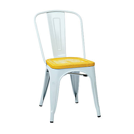 Office Star™ Bristow Armless Chairs with Wood Seats, Ash Yellowstone/White, Set Of 4 Chairs