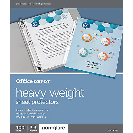 "Office Depot® Brand Heavyweight Sheet Protectors, 8-1/2"" x 11"", Clear, Non-Glare, Pack Of 100"