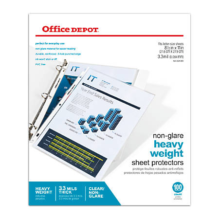 "Office Depot® Brand Heavyweight Sheet Protectors, 8 1/2"" x 11"", Non-Glare, Clear, Pack Of 100"