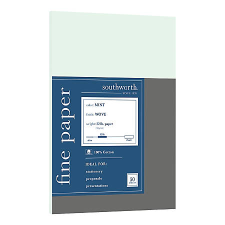 Southworth® 100% Cotton Business Paper, Letter Paper Size, 32 Lb, Mint, Pack Of 50 Sheets