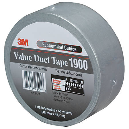 """3M™ 1900 Duct Tape, 3"""" Core, 2"""" x 150', Silver, Case Of 24"""