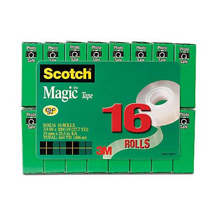 """Scotch® Magic™ 810 Tape, 3/4"""" x 1,000"""", Pack Of 16 Rolls"""