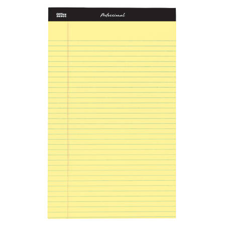 "Office Depot® Brand Professional Legal Pad, 8 1/2"" x 14"", Canary, Legal Ruled, 50 Sheets, 4 Pads/Pack"