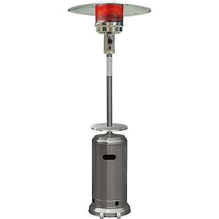Hanover 7-Ft. Steel Umbrella Propane Patio Heater in Stainless Steel
