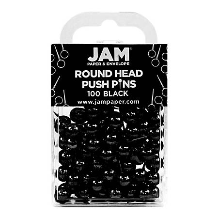 "JAM Paper® Colorful Push Pins, 1/2"", Black, Pack Of 100 Push Pins"