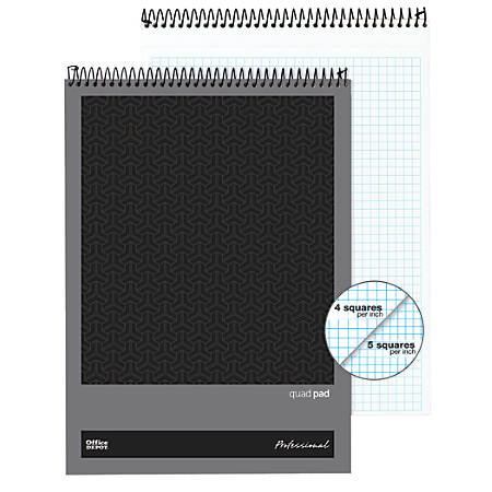 """Office Depot® Brand Professional Top Wirebound Quad-Ruled Legal Pad, 8 1/2"""" x 11 3/4"""", White, 70 Sheets"""