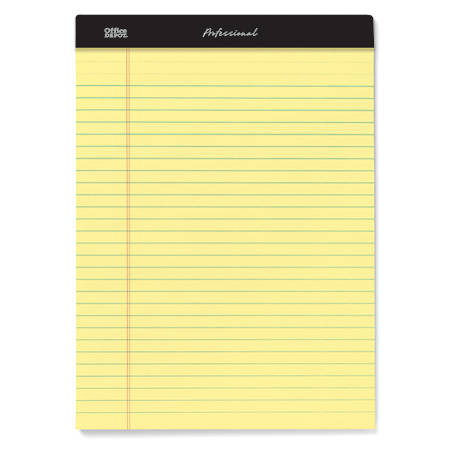 "Office Depot® Brand Professional Legal Pad, 8 1/2"" x 11 3/4"", Legal Ruled, 50 Sheets Per Pad, Canary, Pack Of 8 Pads"