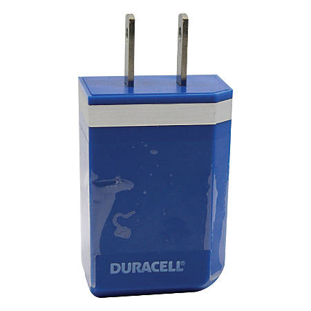 Duracell® USB 100-240 Volt AC Wall Charger, Blue