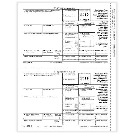 "ComplyRight™ 1099-R Tax Forms, Laser Cut, Copy B, 8-1/2"" x 11"", Pack Of 50 Forms"