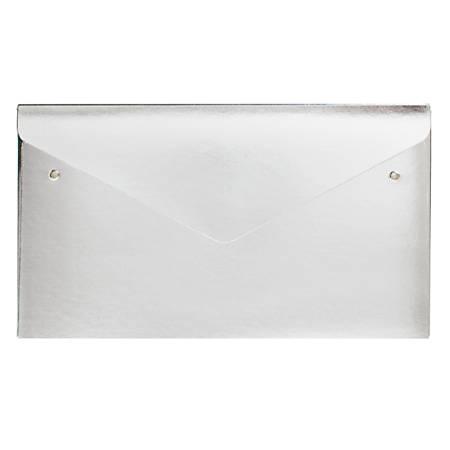 "Office Depot® Brand Polyurethane Envelope, 1"" Expansion, Check Size, Metallic Silver"