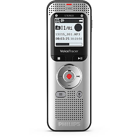 """Philips Voice Tracer Audio Recorder - 8 GBSD, microSD Supported - 1.3"""" LCD - MP3, WAV - Headphone - 2370 HourspeaceRecording Time - Portable"""