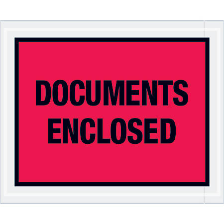 """Tape Logic® Preprinted Packing List Envelopes, Documents Enclosed, 4 1/2"""" x 5 1/2"""", Red, Case Of 1,000"""