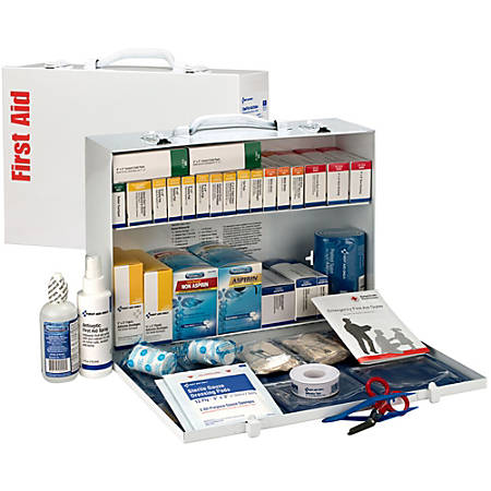"First Aid Only 2-Shelf First Aid Station, 11""H x 15 5/16""W x 4 1/2""D, White"