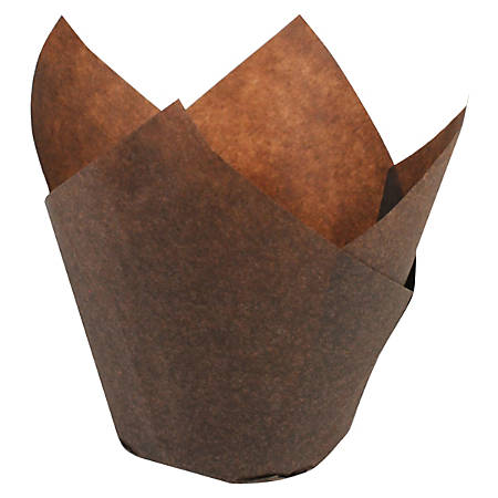 Hoffmaster Tulip Baking Cups, Small, Chocolate Brown, Case Of 1,000 Cups