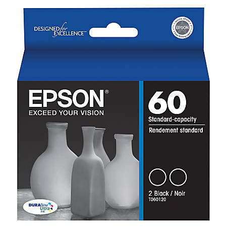 Epson® 60, (T060120-D2) DuraBrite® Ultra Black Ink Cartridges, Pack Of 2