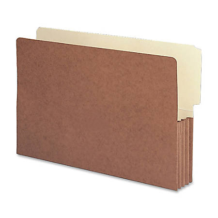 """Smead® Redrope End-Tab File Pockets, Legal Size, 3 1/2"""" Expansion, 30% Recycled, Redrope, Box Of 10"""