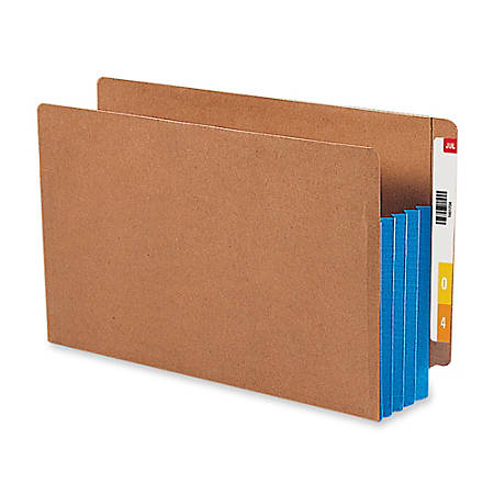 """Smead® Redrope End-Tab File Pockets With Gussets, Legal Size, 3 1/2"""" Expansion, 30% Recycled, Blue Gusset, Box Of 10"""