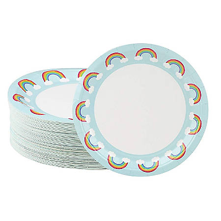 Disposable Plates - 80-Count Paper Plates, Rainbow Party Supplies For Appetizer, Lunch, Dinner, And Dessert, Kids Birthdays, 9 X 9 Inches