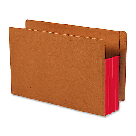 """Smead® Redrope End-Tab File Pockets With Gussets, Legal Size, 3 1/2"""" Expansion, 30% Recycled, Red Gusset, Box Of 10"""