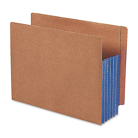 """Smead® Redrope Extra-Wide End-Tab File Pockets, Legal Size, 5 1/4"""" Expansion, 30% Recycled, Blue Gusset, Box Of 10"""