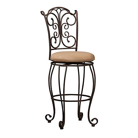 """Linon Home Décor Products Gathered Back Counter Stool, 30""""H, Light Brown/Brown"""