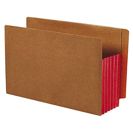 """Smead® Redrope Extra-Wide End-Tab File Pockets, Legal Size, 5 1/4"""" Expansion, 30% Recycled, Red Gusset, Box Of 10"""