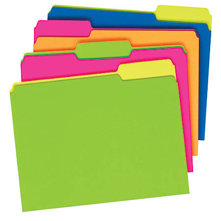 Pendaflex® Glow File Folders, Twisted Twin Tabs, 1/3 Cut, Letter Size, Assorted Colors, Pack Of 24