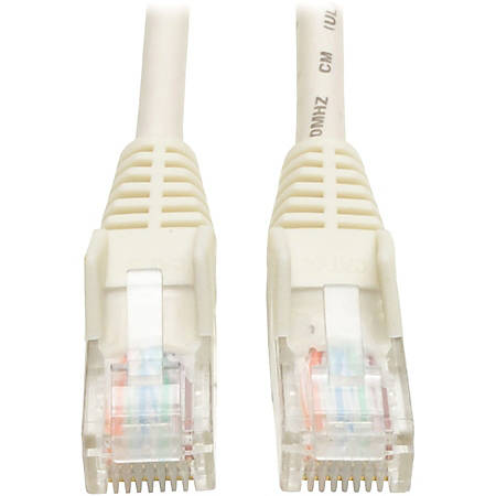 Tripp Lite 3ft Cat5e / Cat5 Snagless Molded Patch Cable RJ45 M/M White 3' - 3 ft Category 5e Network Cable for Network Device - First End: 1 x RJ-45 Male Network - Second End: 1 x RJ-45 Male Network - Patch Cable - White