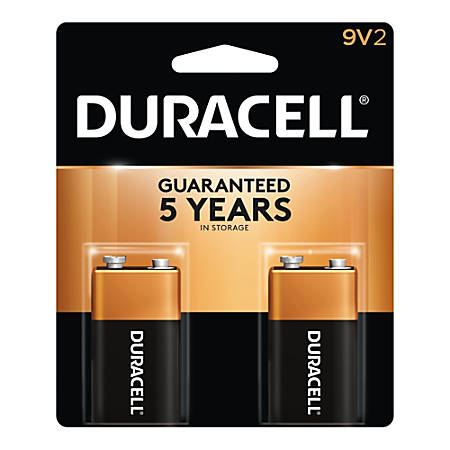 Duracell Coppertop Alkaline 9-Volt Batteries, Pack Of 2