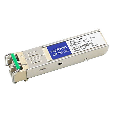 AddOn Extreme Networks 10053H Compatible TAA Compliant 1000Base-ZX SFP Transceiver (SMF, 1550nm, 70km, LC, Rugged)