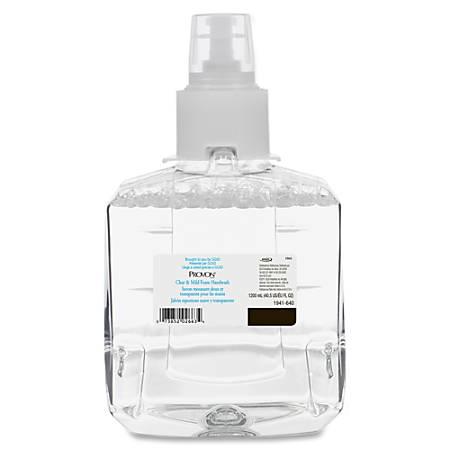 Provon Clean/Mild Foam Handwash Refill - 40.6 fl oz (1200 mL) - Pump Bottle Dispenser - Kill Germs - Skin, Hand - Clear - Antimicrobial, Moisturizing, Rich Lather, Fragrance-free, Dye-free - 2 / Carton