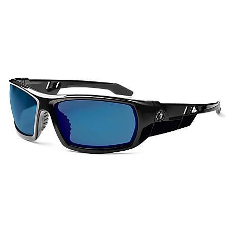 Ergodyne Skullerz® Safety Glasses, Odin, Black Frame, Blue Mirror Lens