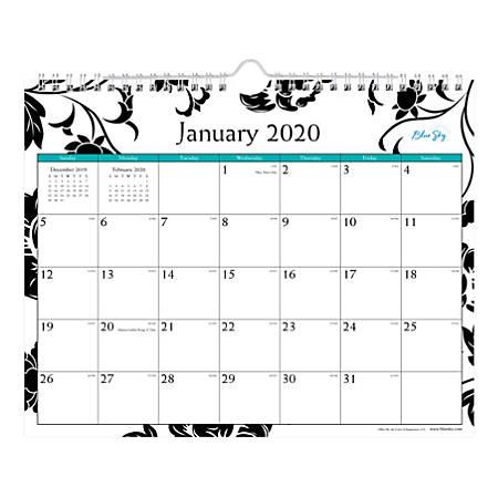 "Blue Sky™ Monthly Wirebound Wall Calendar, 11"" x 8-3/4"", Barcelona, January To December 2020, 100028"