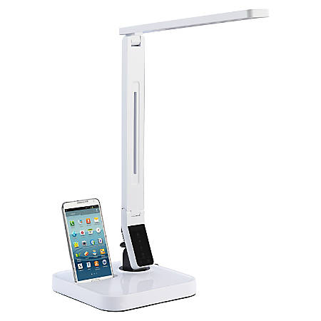 Lorell® LED Micro USB Desk Lamp, Dimmable, White