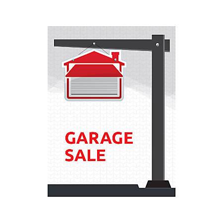 Plastic Sign, Garage Sale Crane, Vertical